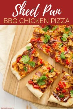 Sheet Pan BBQ Chicken Pizza is made on a crispy cream of wheat crust. Topped with BBQ sauce, gouda cheese, bacon, onions, and peppers. Sprinkled with fresh cilantro. #sheetpan #bbqchicken #bbq #pizza