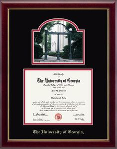 "Features a beautiful photograph of ""The Arch"" mounted above your diploma, with your school name embossed on black and red museum-quality matting.  The Gallery moulding is crafted of solid hardwood with a high-gloss cherry lacquer finish and gold inner lip."