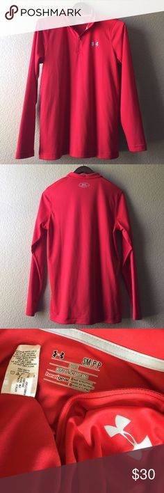 UnderArmour Shirt EUC Zip collar, silky 100% polyester, long-sleeve shirt. Reflective logos. Collar can be worn unzipped like a polo or zipped up for extra warmth like a mock turtleneck. Worn a few times during outdoor workout over sports bra on colder days, but this is a men's shirt. Under Armour Shirts