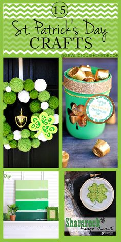 DIY Home Decor: St Patricks Day Shamrock Crafts and Gift Ideas. St Patrick's Day Crafts, Holiday Crafts, Holiday Fun, Crafts To Make, Decor Crafts, Diy Crafts, Holiday Ideas, March Crafts, Christmas Crafts