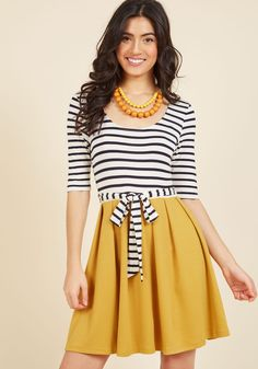 In the Very Near Twofer Striped Dress. You dont need to be a fortune teller to see that this twofer dress will become an integral part of your wardrobe! #yellow #modcloth