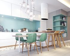 The main objective in the design was to create a large and comfortable kitchen. Wishes of the customer was the presence of the kitchen island. As a result, it was decided to merge it with the dining table and create a common form. The main color of the pr…
