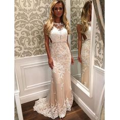 Newest White Lace Prom Dresses, Sheath Prom Dresses,