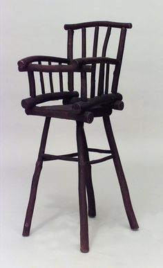 American Rustic Old Hickory child's high chair with spindle design on back and arms. Old Hickory Furniture, Kids Furniture, Rustic Furniture, Antique Furniture, Outdoor Furniture, Antiques Online, Antiques For Sale, Outdoor Chairs, Outdoor Decor