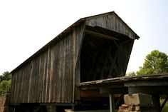 Looking up at the wooden Goddard covered bridge in Kentucky.