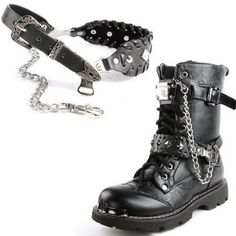 Black Studded Leather Biker Punk Goth Boots Straps Chains Accessories.  So cool!