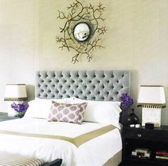 bedroom-grey-vintage-tufted-headboard-bedroom-ideas-on-white-bed-under-unique-green-vines-ornament-with-purple-flowers-classic-tufted-headboard-bedroom-design-ideas.jpg (1168×1158)