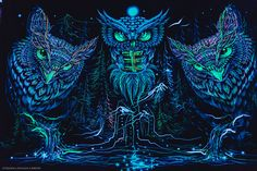 No copyright infringment intended, promotional use only! Music is not mine. © All rights reserved at the owners and their respective labels. Trippy Tapestry, Psychedelic Tapestry, Blacklight Tapestry, Owl Wallpaper, Beautiful Owl, Owl City, Hippie Art, Landscape Walls, Visionary Art