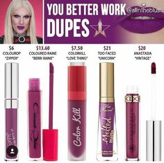 Lipstick dupes 829717931328656884 - Jeffree star liquid lipstick dupes in the shade You Better Work // Kayy Dubb ♡ Source by ourmakeupdiarysite Jeffree Star Liquid Lipstick, Lipstick Art, Lipstick Dupes, Lipsticks, Eyeshadow Dupes, Bold Lipstick, Lipstick Swatches, Lipstick Colors, Drugstore Makeup Dupes