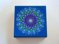 OOAK 3D original mandala Arte-pintado a mano arte de caja-puntillismo-punto de almacenaje de abalorio madera stash tesoro joyas caja de madera-para ella-para él-Zen