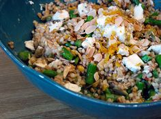 lemon grain salad with asapargus, almonds, and goat cheese. Great for lunches in the summer.