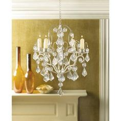 Ivory Baroque Candle Chandeliers Wedding Decorations for Vintage Glam themes - Affordable Elegance Bridal -