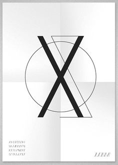 "poster design and typography in black and white – Letter ""X"" 