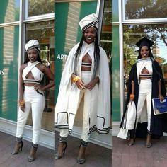 2016 - Modern Xhosa attire design to her university graduation. More university graduation outfits Xhosa Attire, African Attire, African Wear, African Dress, African Fashion, African Outfits, African Style, African Clothes, African Design
