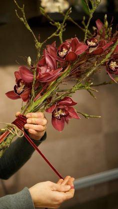 Orchideeën met perenhout