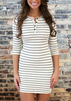 bc6c90eee7be Celebrate weekend in this striped bodycon mini dress. It features stylish  3 4 sleeves