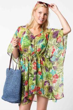 Sarı Kadın Desenli Şifon Plaj Bluzu 325991 | DeFacto