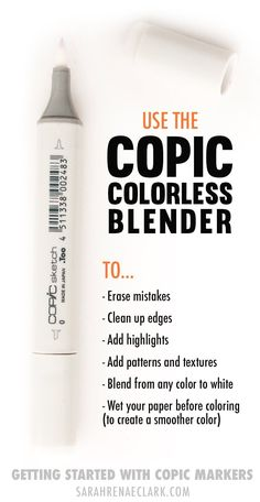 Getting Started with Copic Markers: A Beginner's Guide Use the Copic Colorless Blender to erase mistakes, add highlights. add patterns and textures, blend from any color to white or to wet your paper before coloring. Copic Marker Art, Copic Pens, Copic Art, Copics, Copic Sketch Markers, Copic Markers Tutorial, Coloring Tips, Adult Coloring, Alcohol Markers