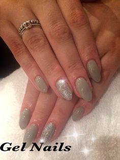 Almond gel extensions, custom mix grey gel polish & disco ball glitter