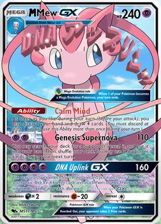 This is a Mega Mew GX. I can make one for you. And by the time you get it I'll work hours on it and it will be even better! Dragon Type Pokemon, Pokemon Cards Legendary, Mega Evolution Pokemon, Deadpool Pikachu, Cool Pokemon Cards, Gotta Catch Them All, How To Become, How To Get, Your Turn