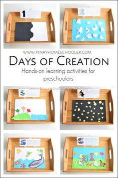 Days of the Creation for Preschoolers days of creation crafts for preschoolers Toddler Bible Lessons, Preschool Bible Lessons, Bible Activities, Preschool Activities, Dinosaurs Preschool, Spanish Activities, Gods Creation Crafts, Creation Activities, Days Of Creation