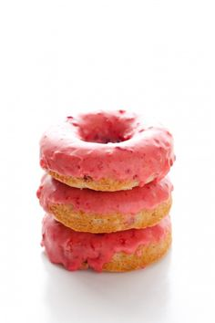 Its strawberry season and Calleigh will put down a dozen of these!  Baked Strawberry Doughnuts - Cooking Classy