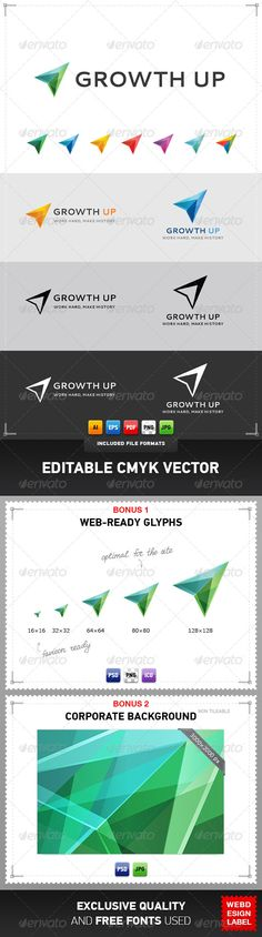 Growth Up - Logo Design Template Vector #logotype Download it here: http://graphicriver.net/item/growth-up-logo/4322253?s_rank=12?ref=nexion