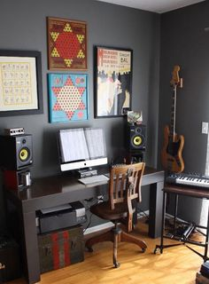 Minimal Music Studio - just a dream :D a few guitars, flute, keyboard or small piano... maybe in the corner of an art studio. A couple of mics? maybe...
