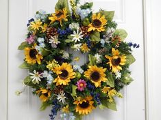 Spring Sale Spring Wreath Wild Flower Wreath by TylerInteriors Artificial Christmas Wreaths, Sunflower Wreaths, Floral Wreaths, Mesh Wreaths, Mothers Day Wreath, Summer Wreath, Spring Wreaths, Funeral Flowers, Flower Decorations