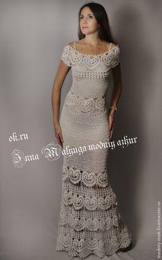 Купить или заказать Платье ' Катарина' от бразильского дизайнера Katia Portes в моём в интернет-магазине на Ярмарке Мастеров. Платье ' Катарина' от бразильского дизайнера Katia Portes в моём исполнении. Готовая работа 44-46, нитка хлопок, шёлк. Спешите купить вечернее вязаное платье на любой случай – светский раут, свадьбу…