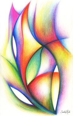 Breath / colored pencils on paper / sandra rede 2016 www. Abstract Pencil Drawings, Colored Pencil Artwork, Pencil Painting, Pencil Art Drawings, Colorful Drawings, Easy Drawings, Colored Pencils, Pencil Sketching, Drawing Faces