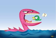 The Seamonster and the Bird by James Elston, via Behance