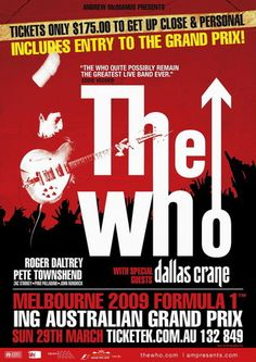 The WHO at the Australian Grand Prix Cafe Poster Buy Now.it's just a click away! Cafe Posters, Tour Posters, Music Posters, Really Cool Photos, Music Tours, Vintage Concert Posters, Australian Grand Prix, Rock Concert, Special Guest