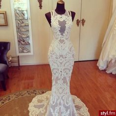 dress white lace dress long dress mermaid dresses mermaid prom dress mermaid wedding dresses sleeveless dress sexy dress long white dress tight formal dress high neck