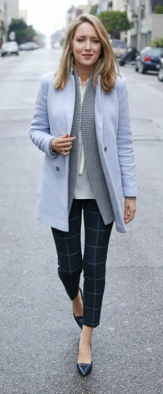 pale periwinkle blue coat, cableknit gray cardigan, ivory tie-neck blouse, navy windowpane trouser + navy pointy toe pumps {office style, ann taylor}