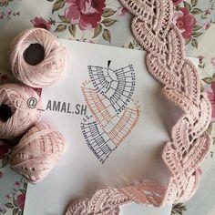 Crochet Boarders, Crochet Lace Edging, Crochet Motifs, Crochet Diagram, Crochet Chart, Cute Crochet, Irish Crochet, Crochet Flowers, Crochet Stitches