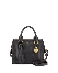 Mini Skull Padlock Satchel Bag, Black by Alexander McQueen at Bergdorf Goodman.