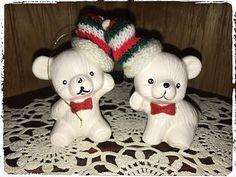 6 Vintage Miniature Flocked White Gray Christmas Sitting Teddy Bears NOS