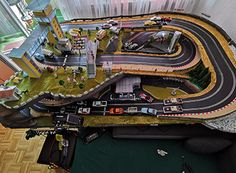 Check out these awesome slot track layouts from our customers. Slot Car Race Track, Slot Car Racing, Slot Car Tracks, Carrera Slot Cars, Vintage Menu, City Model, Courses, Cool Stuff, F1