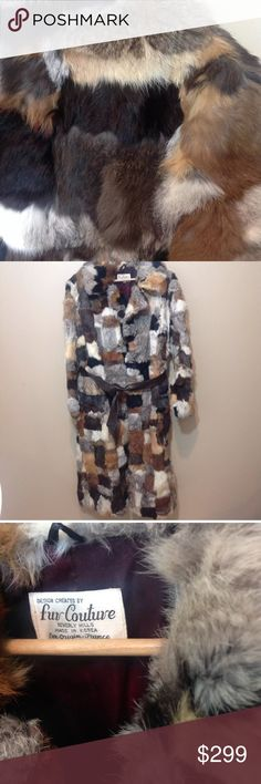 "BEVERLY HILLS COUTURE PATCHWORK FUR COAT Fabulous condition!! Beautiful unique coat!! Very retro patchwork fur, simply stunning and unique. Has a slight basement smell, haven't tried to fix it. Tie closure with faux leather belt. Length 44"", bust 22"", sleeve 24, back 20"". Beverly Hills Couture Jackets & Coats"