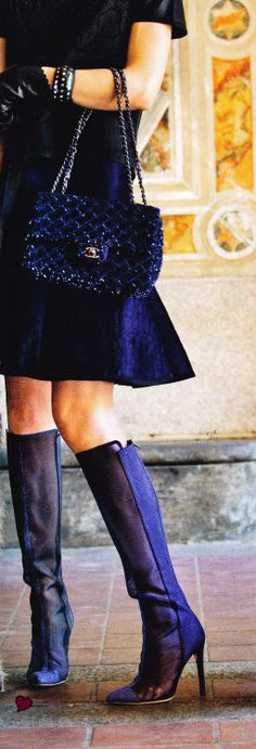 Chanel Bag and Reed Krakoff mesh boots.