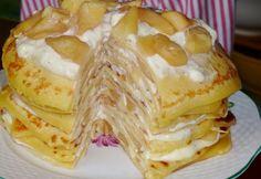 Almás-vaníliás rakott palacsinta recept képpel. Hozzávalók és az elkészítés részletes leírása. Az almás-vaníliás rakott palacsinta elkészítési ideje: 85 perc Waffles, Pancakes, Crepe Cake, Chimichanga, Mille Crepe, Crepes, Oreo, Food And Drink, Snacks