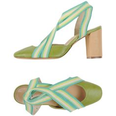 Malìparmi Pump ($83) ❤ liked on Polyvore featuring shoes, pumps, green, stretch leather shoes, square toe shoes, leather pumps, leather sole shoes and square toe pumps
