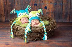 Newborn Boy Twin Set  Photography Prop Sleepy Owl Hat Blue and Green. $48.00, via Etsy.