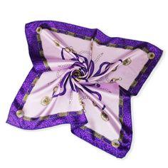 Silk scarf headband small facecloth square in 50cm purple ribbon scarf bandanas handkerchief neckerchief muffler b298