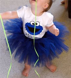 Custom Boutique Personalized Cookie Monster applique top Tutu and Hair Bow Birthday