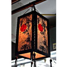 Zen hanging lamp lighting, Wood pendant lamp shade, Hanging lantern, Chinese lantern, Paper lampshade home decor garden decor bamboo HA01