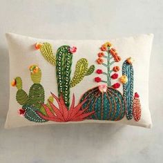 Embroidery Stitches Sunset Cactus Lumbar Pillow - The most colorful cactuses of the Southwest are embroidered and appliqued to create this charming pillow for your sofa, bed or chair-without the prickly spines. Embroidery Art, Embroidery Stitches, Embroidery Patterns, Cactus Embroidery, Pillow Embroidery, Crochet Stitches, Sewing Pillows, Diy Pillows, Boho Pillows