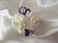 Cadbury Purple & Ivory Roses With Glitter Butterflies & Silver Babies Breath