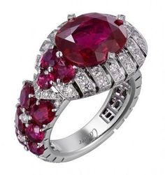 Cartier Ring in Platinum with Rubies and Diamonds